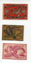 VERY OLD match box labels CHINA or JAPAN patriotic  #331